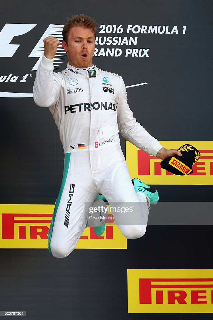 <a gi-track='captionPersonalityLinkClicked' href=/galleries/search?phrase=Nico+Rosberg&family=editorial&specificpeople=800808 ng-click='$event.stopPropagation()'>Nico Rosberg</a> of Germany and Mercedes GP celebrates his win on the podium during the Formula One Grand Prix of Russia at Sochi Autodrom on May 1, 2016 in Sochi, Russia.