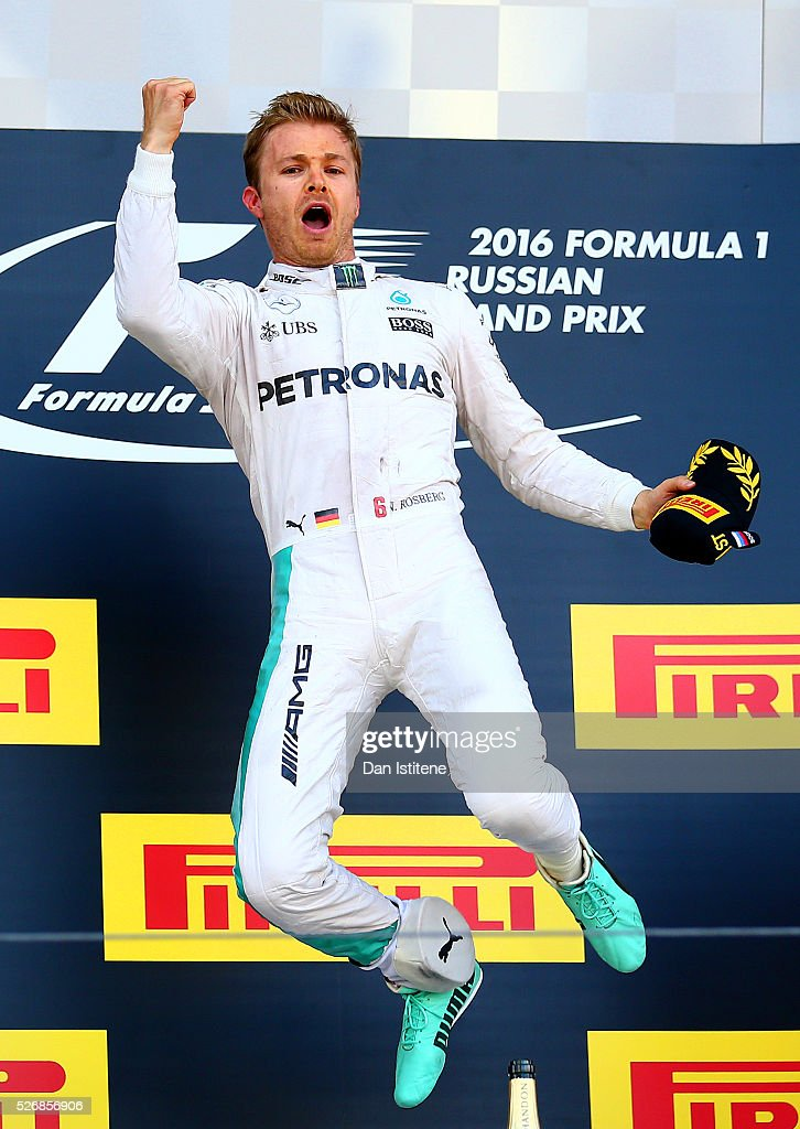 Nico Rosberg of Germany and Mercedes GP celebrates his win on the podium during the Formula One Grand Prix of Russia at Sochi Autodrom on May 1, 2016 in Sochi, Russia.