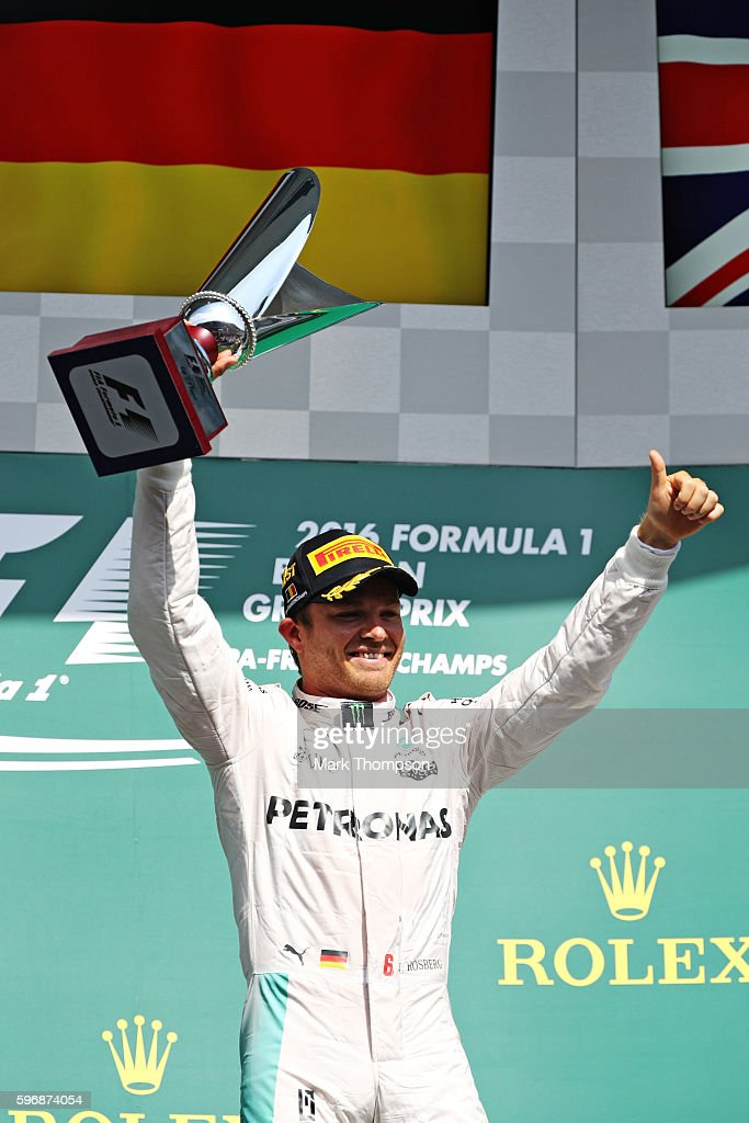 Nico Rosberg of Germany and Mercedes GP celebrates his win on the podium during the Formula One Grand Prix of Belgium at Circuit de SpaFrancorchamps...