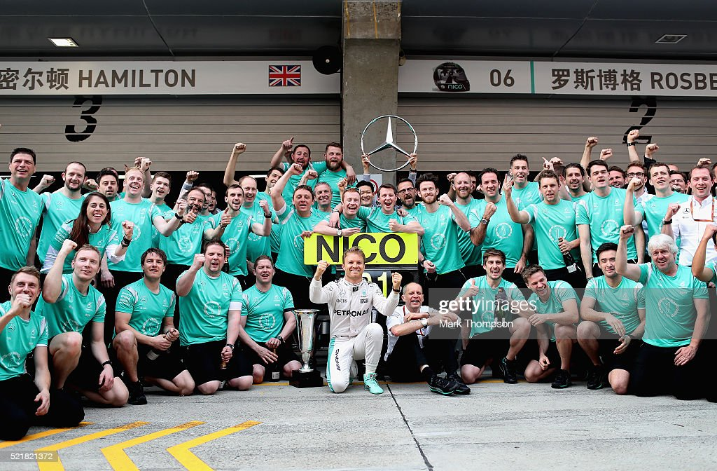 Nico Rosberg of Germany and Mercedes GP celebrates his win with his team during the Formula One Grand Prix of China at Shanghai International Circuit on April 17, 2016 in Shanghai, China.