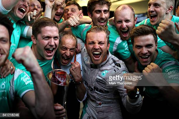 Nico Rosberg of Germany and Mercedes GP celebrates his win with his team during the European Formula One Grand Prix at Baku City Circuit on June 19...