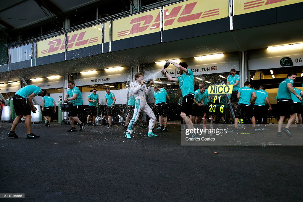 Nico Rosberg of Germany and Mercedes GP celebrates his win with his team during the European Formula One Grand Prix at Baku City Circuit on June 19, 2016 in Baku, Azerbaijan.