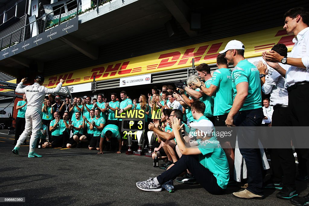 Nico Rosberg of Germany and Mercedes GP celebrates his win with his team during the Formula One Grand Prix of Belgium at Circuit de SpaFrancorchamps...