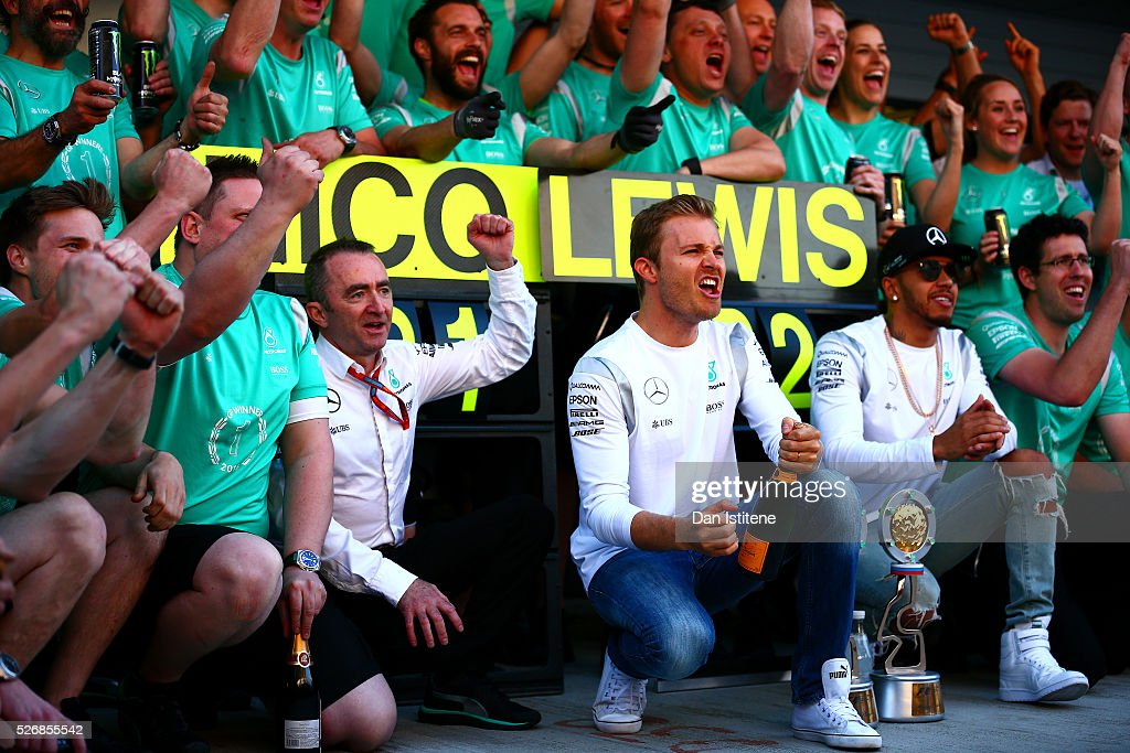Nico Rosberg of Germany and Mercedes GP celebrates his win with Lewis Hamilton of Great Britain and Mercedes GP, Paddy Lowe, Mercedes Technical Executive Director and the rest of the team outside the garage after the Formula One Grand Prix of Russia at Sochi Autodrom on May 1, 2016 in Sochi, Russia.
