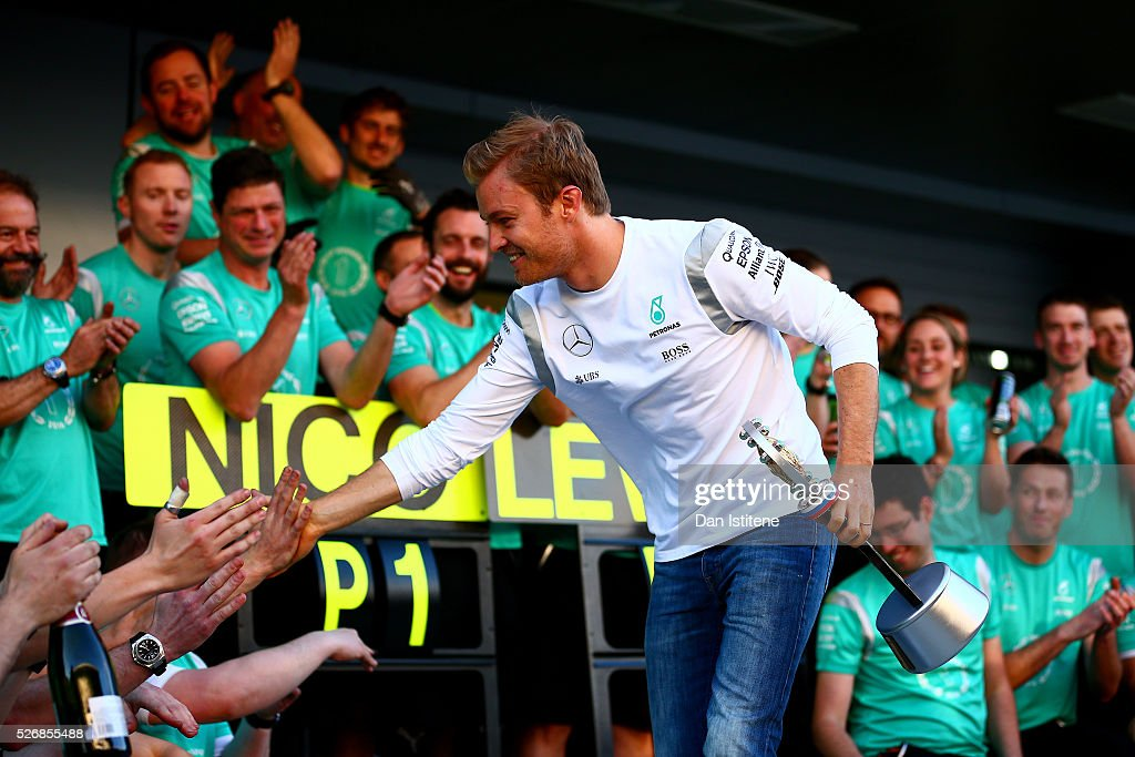 Nico Rosberg of Germany and Mercedes GP celebrates his win with the team outside the garage after the Formula One Grand Prix of Russia at Sochi Autodrom on May 1, 2016 in Sochi, Russia.