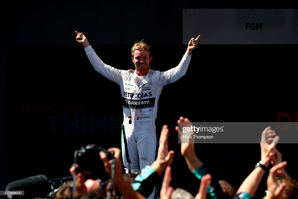 <a gi-track='captionPersonalityLinkClicked' href=/galleries/search?phrase=Nico+Rosberg&family=editorial&specificpeople=800808 ng-click='$event.stopPropagation()'>Nico Rosberg</a> of Germany and Mercedes GP celebrates in Parc Ferme after winning the Spanish Formula One Grand Prix at Circuit de Catalunya on May 10, 2015 in Montmelo, Spain.