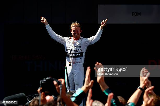 Nico Rosberg of Germany and Mercedes GP celebrates in Parc Ferme after winning the Spanish Formula One Grand Prix at Circuit de Catalunya on May 10...