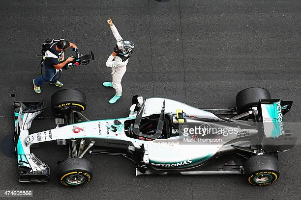 Nico Rosberg of Germany and Mercedes GP celebrates in parc ferme after winning the Monaco Formula One Grand Prix at Circuit de Monaco on May 24 2015...