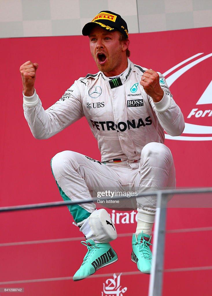 Nico Rosberg of Germany and Mercedes GP celebrates on the podium after winning the European Formula One Grand Prix at Baku City Circuit on June 19, 2016 in Baku, Azerbaijan.