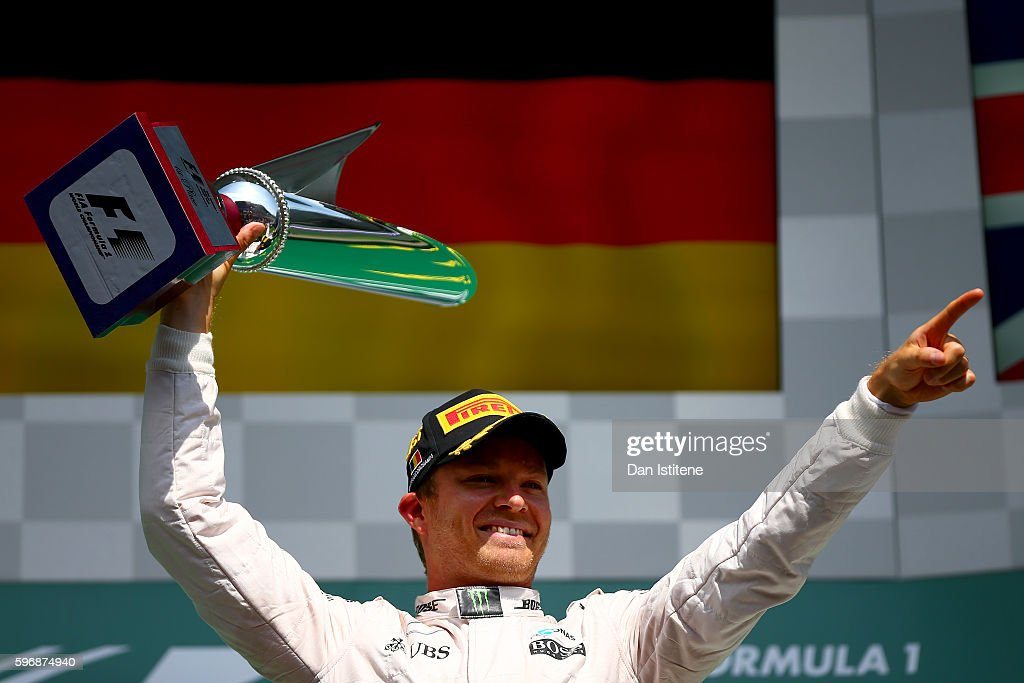 Nico Rosberg of Germany and Mercedes GP celebrates on the podium during the Formula One Grand Prix of Belgium at Circuit de SpaFrancorchamps on...