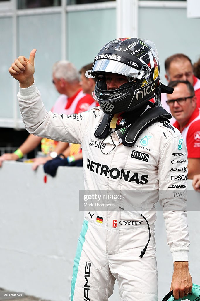 Nico Rosberg of Germany and Mercedes GP celebrates qualifying on pole position in parc ferme during qualifying for the Formula One Grand Prix of...