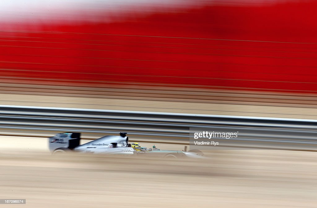 Nico Rosberg of Germany and Mercedes GP drives during final practice session prior qualifying for the Bahrain Formula One Grand Prix at the Bahrain International Circuit on April 20, 2013 in Sakhir, Bahrain.