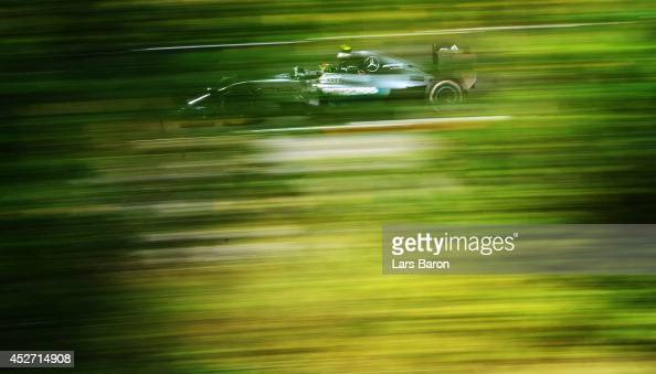 Nico Rosberg of Germany and Mercedes GP drives during final practice ahead of the Hungarian Formula One Grand Prix at Hungaroring on July 26 2014 in...