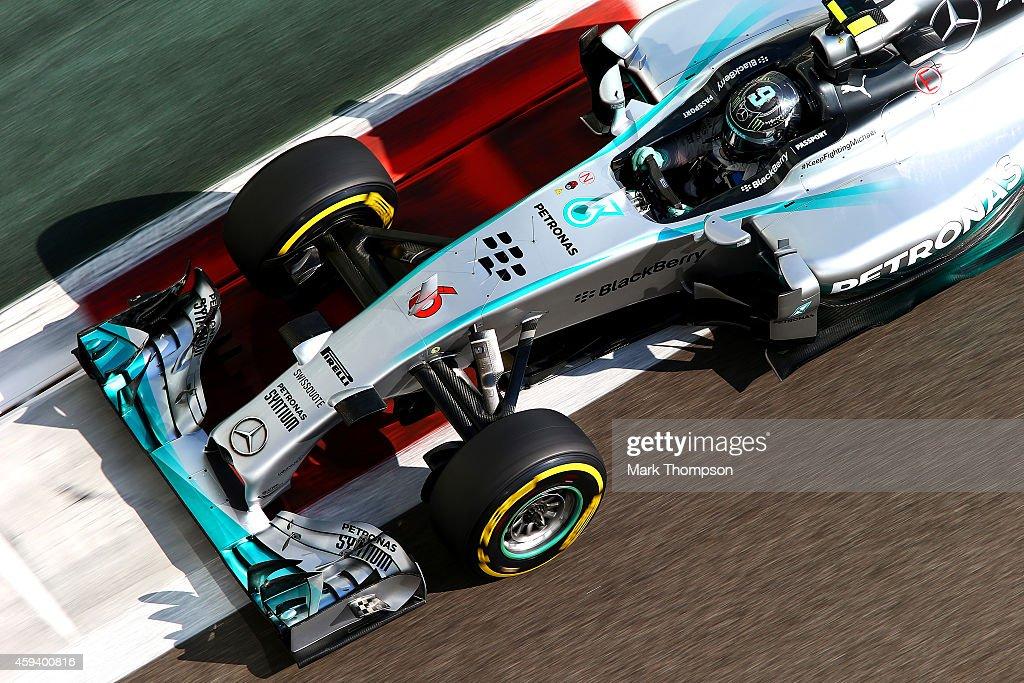 Nico Rosberg of Germany and Mercedes GP drives during final practice ahead of the Abu Dhabi Formula One Grand Prix at Yas Marina Circuit on November...