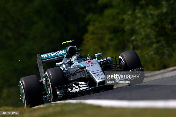 Nico Rosberg of Germany and Mercedes GP drives during final practice for the Formula One Grand Prix of Hungary at Hungaroring on July 25 2015 in...