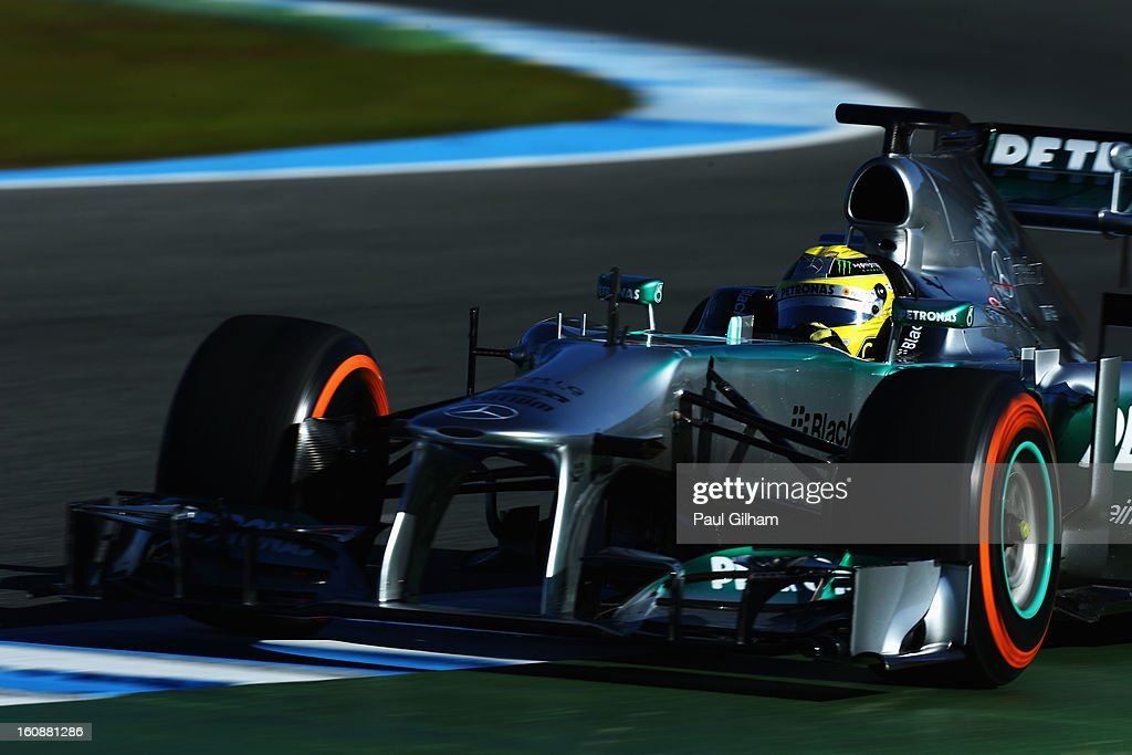 Nico Rosberg of Germany and Mercedes GP drives during Formula One winter testing at Circuito de Jerez on February 7, 2013 in Jerez de la Frontera, Spain.