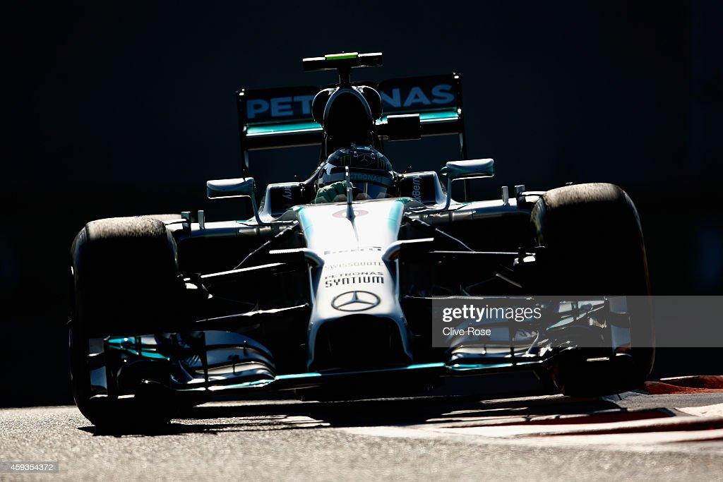 Nico Rosberg of Germany and Mercedes GP drives during practice ahead of the Abu Dhabi Formula One Grand Prix at Yas Marina Circuit on November 21...