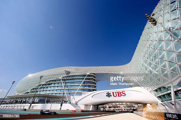 Nico Rosberg of Germany and Mercedes GP drives during practice ahead of the Abu Dhabi Formula One Grand Prix at Yas Marina Circuit on November 21...