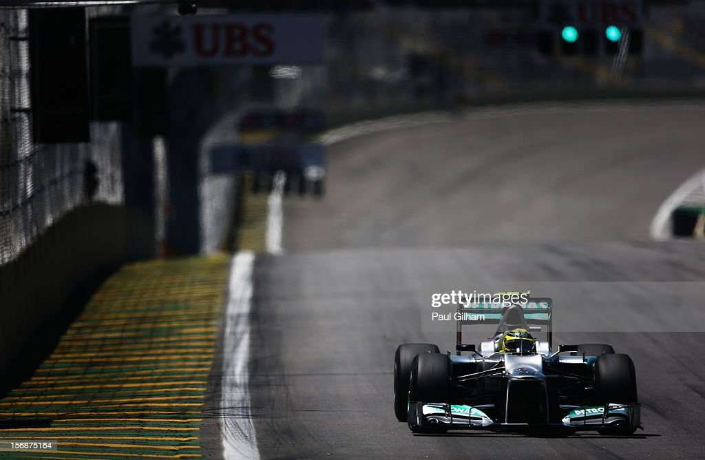 Nico Rosberg of Germany and Mercedes GP drives during practice for the Brazilian Formula One Grand Prix at the Autodromo Jose Carlos Pace on November 23, 2012 in Sao Paulo, Brazil.