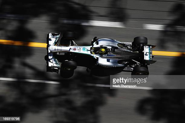 Nico Rosberg of Germany and Mercedes GP drives during practice for the Monaco Formula One Grand Prix at the Circuit de Monaco on May 23 2013 in...