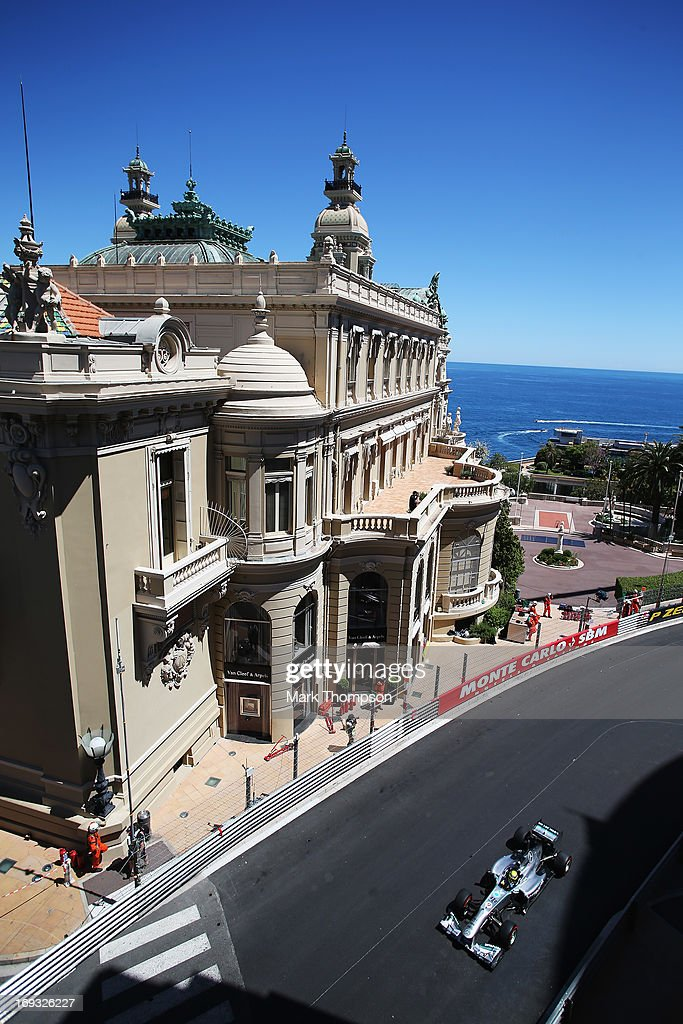 <a gi-track='captionPersonalityLinkClicked' href=/galleries/search?phrase=Nico+Rosberg&family=editorial&specificpeople=800808 ng-click='$event.stopPropagation()'>Nico Rosberg</a> of Germany and Mercedes GP drives during practice for the Monaco Formula One Grand Prix at the Circuit de Monaco on May 23, 2013 in Monte-Carlo, Monaco.