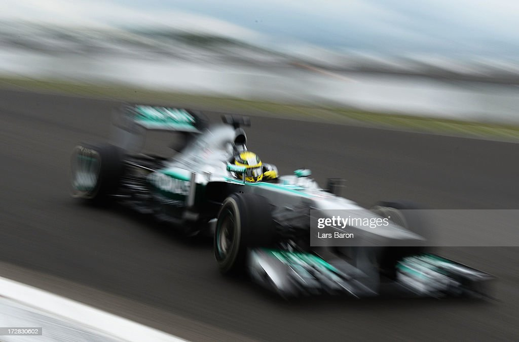 Nico Rosberg of Germany and Mercedes GP drives during practice for the German Grand Prix at the Nuerburgring on July 5, 2013 in Nuerburg, Germany.