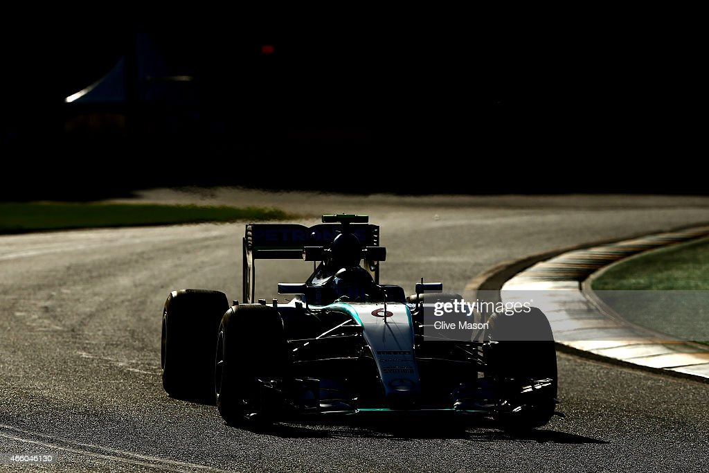 Nico Rosberg of Germany and Mercedes GP drives during practice for the Australian Formula One Grand Prix at Albert Park on March 13, 2015 in Melbourne, Australia.