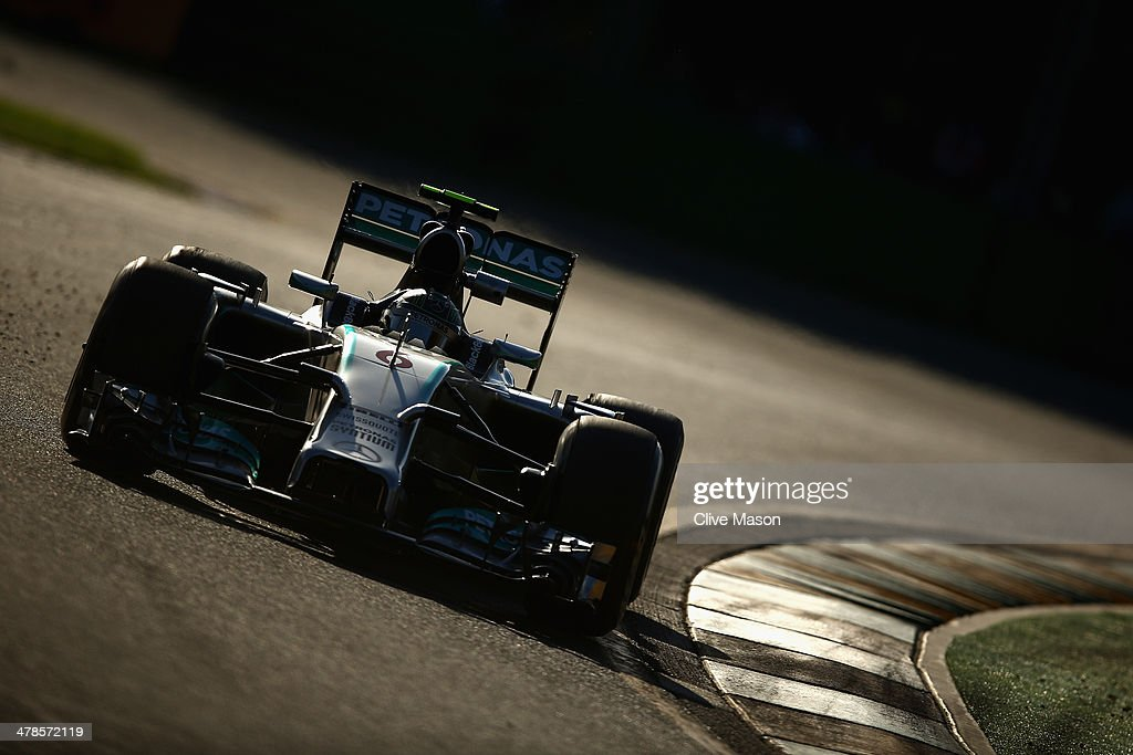 <a gi-track='captionPersonalityLinkClicked' href=/galleries/search?phrase=Nico+Rosberg&family=editorial&specificpeople=800808 ng-click='$event.stopPropagation()'>Nico Rosberg</a> of Germany and Mercedes GP drives during practice for the Australian Formula One Grand Prix at Albert Park on March 14, 2014 in Melbourne, Australia.