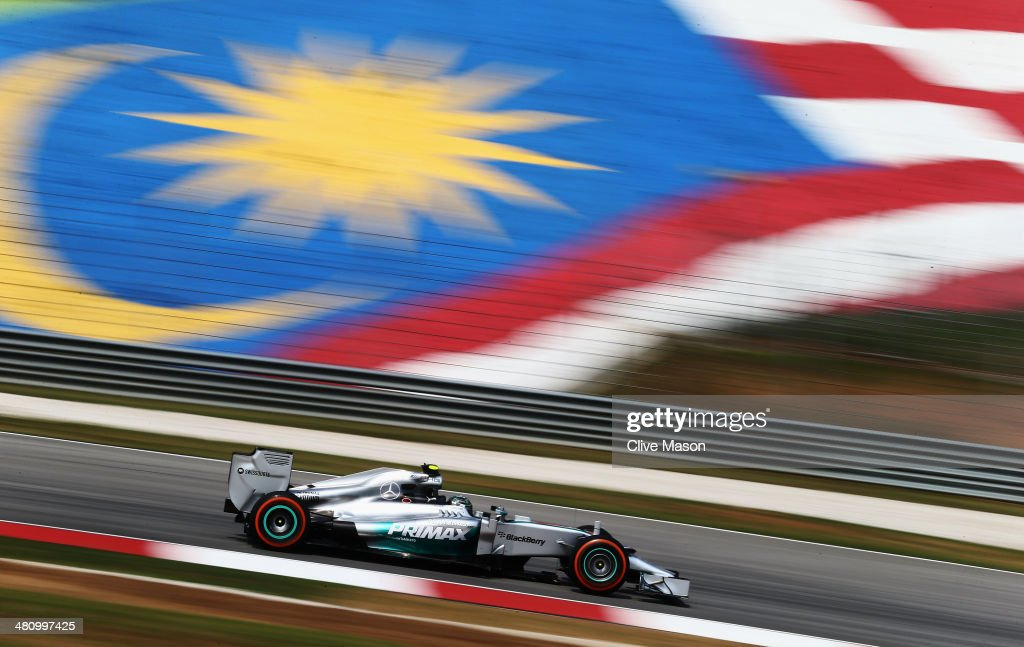 Nico Rosberg of Germany and Mercedes GP drives during practice for the Malaysia Formula One Grand Prix at the Sepang Circuit on March 28, 2014 in Kuala Lumpur, Malaysia.