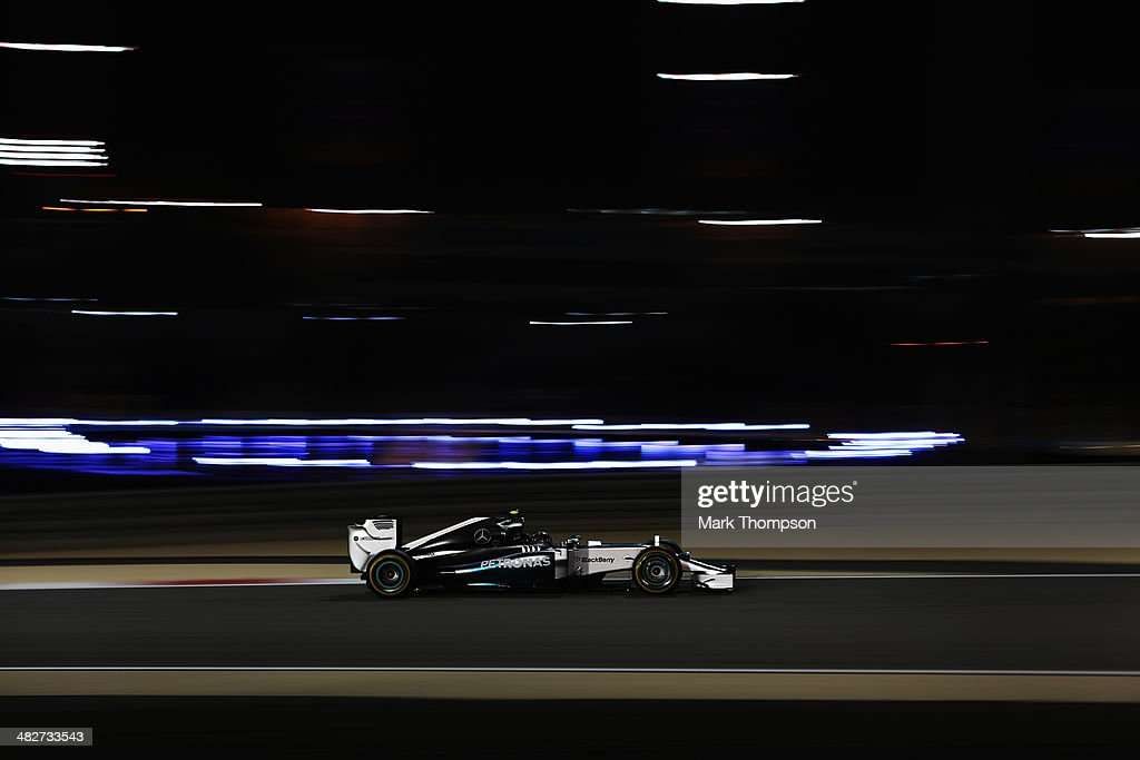 Nico Rosberg of Germany and Mercedes GP drives during practice for the Bahrain Formula One Grand Prix at the Bahrain International Circuit on April 4, 2014 in Sakhir, Bahrain.