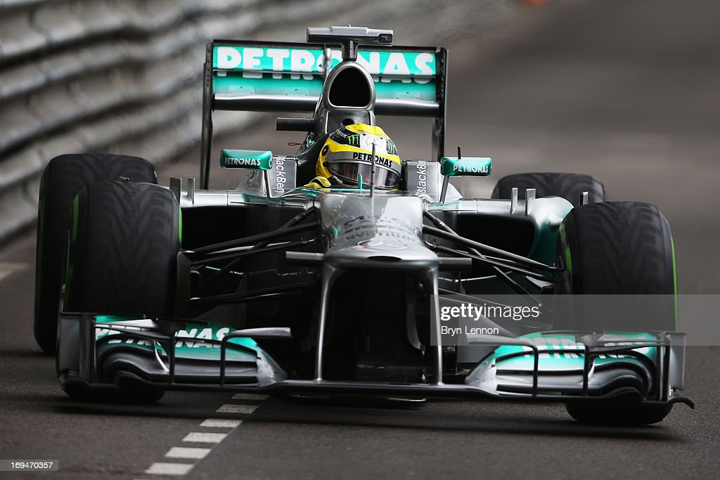 <a gi-track='captionPersonalityLinkClicked' href=/galleries/search?phrase=Nico+Rosberg&family=editorial&specificpeople=800808 ng-click='$event.stopPropagation()'>Nico Rosberg</a> of Germany and Mercedes GP drives during qualifying for the Monaco Formula One Grand Prix at the Circuit de Monaco on May 25, 2013 in Monte-Carlo, Monaco.