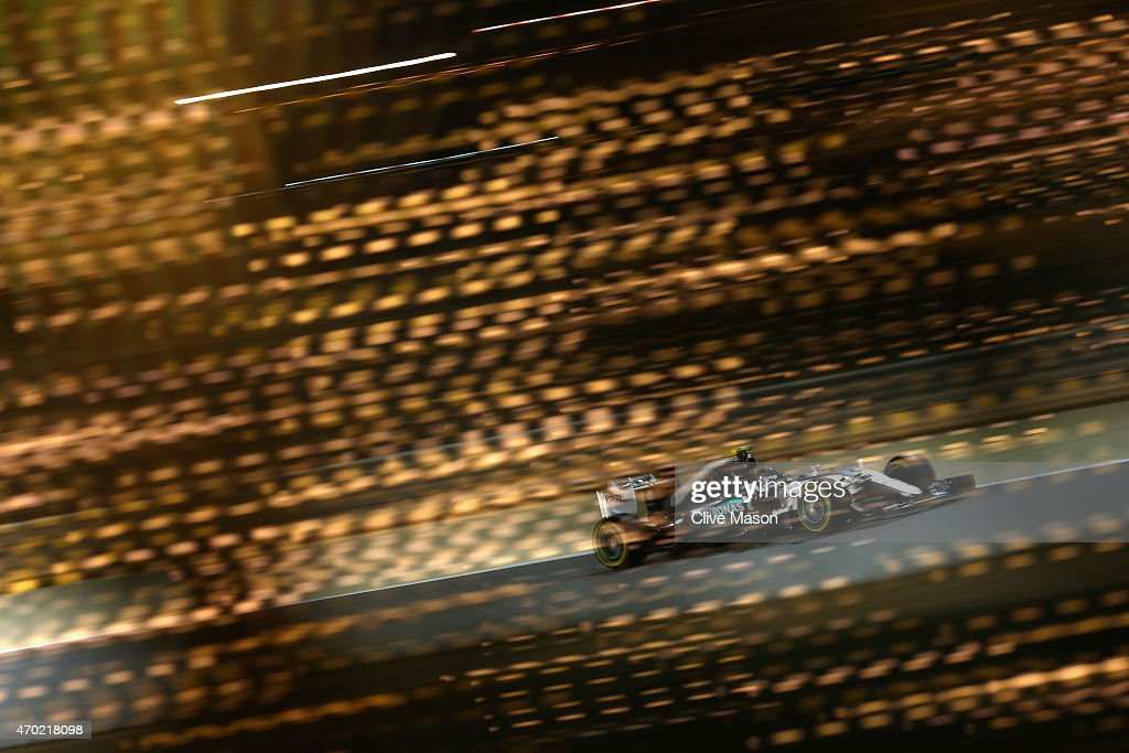 Nico Rosberg of Germany and Mercedes GP drives during qualifying for the Bahrain Formula One Grand Prix at Bahrain International Circuit on April 18, 2015 in Bahrain, Bahrain.