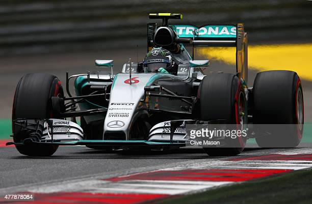 Nico Rosberg of Germany and Mercedes GP drives during qualifying for the Formula One Grand Prix of Austria at Red Bull Ring on June 20 2015 in...