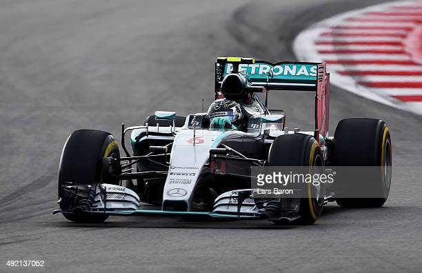 Nico Rosberg of Germany and Mercedes GP drives during qualifying for the Formula One Grand Prix of Russia at Sochi Autodrom on October 10 2015 in...