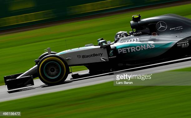Nico Rosberg of Germany and Mercedes GP drives during qualifying for the Formula One Grand Prix of Mexico at Autodromo Hermanos Rodriguez on October...