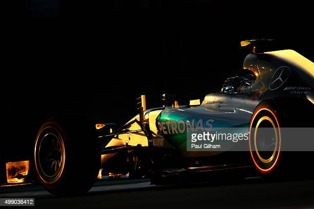 Nico Rosberg of Germany and Mercedes GP drives during qualifying for the Abu Dhabi Formula One Grand Prix at Yas Marina Circuit on November 28 2015...