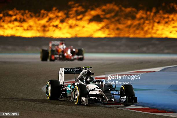 Nico Rosberg of Germany and Mercedes GP drives during the Bahrain Formula One Grand Prix at Bahrain International Circuit on April 19 2015 in Bahrain...