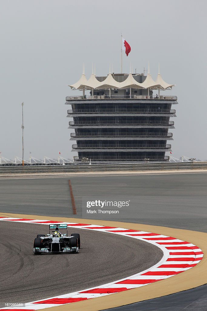 Nico Rosberg of Germany and Mercedes GP drives during the final practice session prior to qualifying for the Bahrain Formula One Grand Prix at the Bahrain International Circuit on April 20, 2013 in Sakhir, Bahrain.