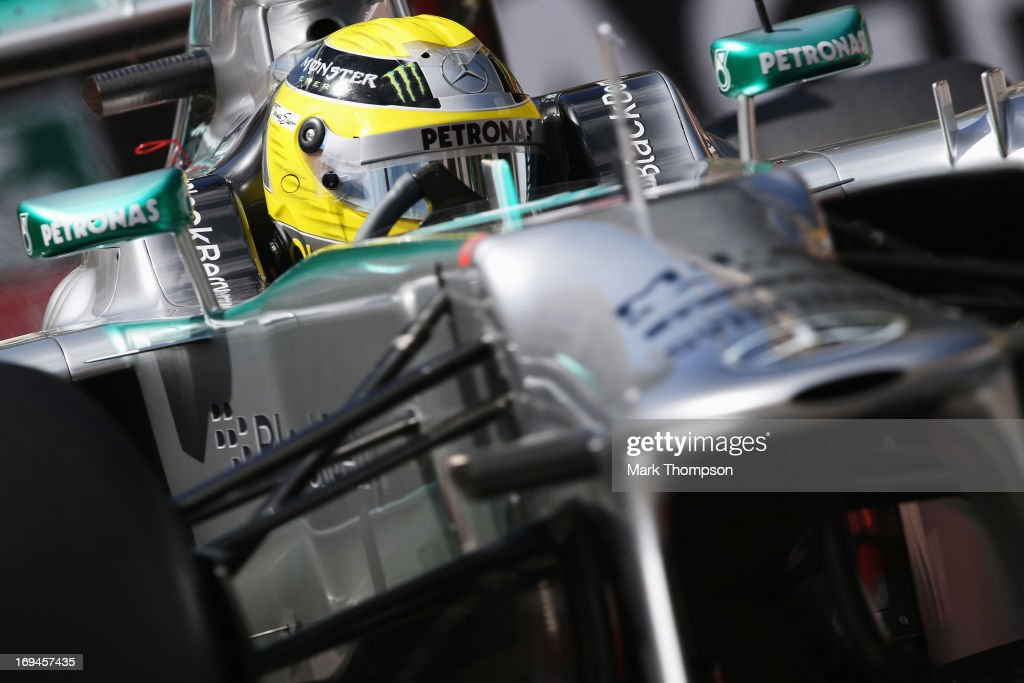 <a gi-track='captionPersonalityLinkClicked' href=/galleries/search?phrase=Nico+Rosberg&family=editorial&specificpeople=800808 ng-click='$event.stopPropagation()'>Nico Rosberg</a> of Germany and Mercedes GP drives during the final practice session prior to qualifying for the Monaco Formula One Grand Prix at the Circuit de Monaco on May 25, 2013 in Monte-Carlo, Monaco.