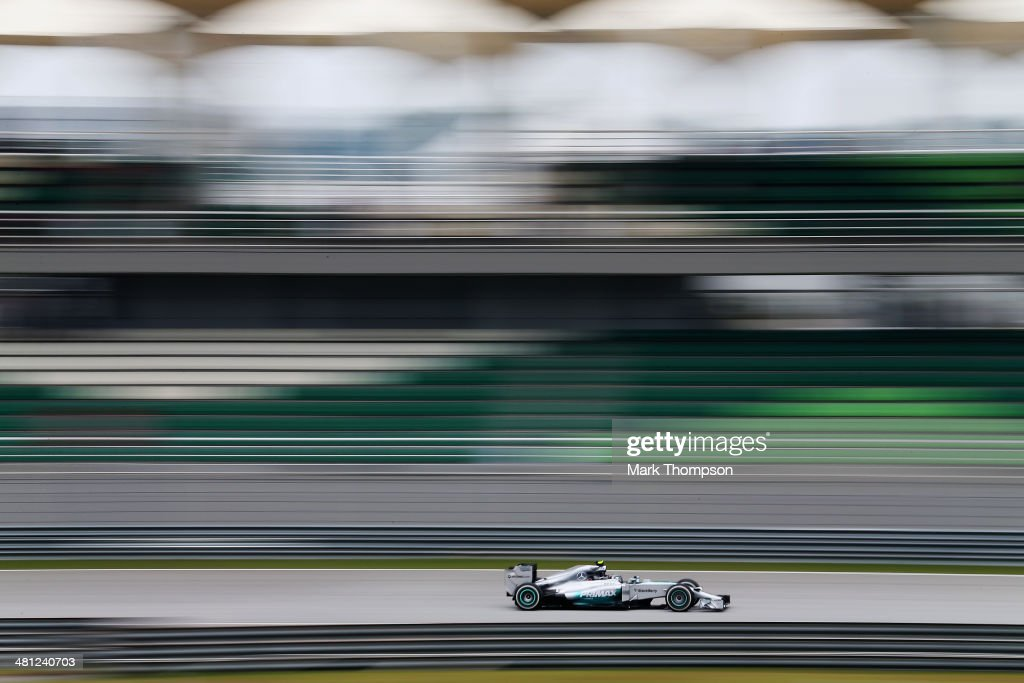 <a gi-track='captionPersonalityLinkClicked' href=/galleries/search?phrase=Nico+Rosberg&family=editorial&specificpeople=800808 ng-click='$event.stopPropagation()'>Nico Rosberg</a> of Germany and Mercedes GP drives during the final practice session prior to qualifying for the Malaysia Formula One Grand Prix at the Sepang Circuit on March 29, 2014 in Kuala Lumpur, Malaysia.