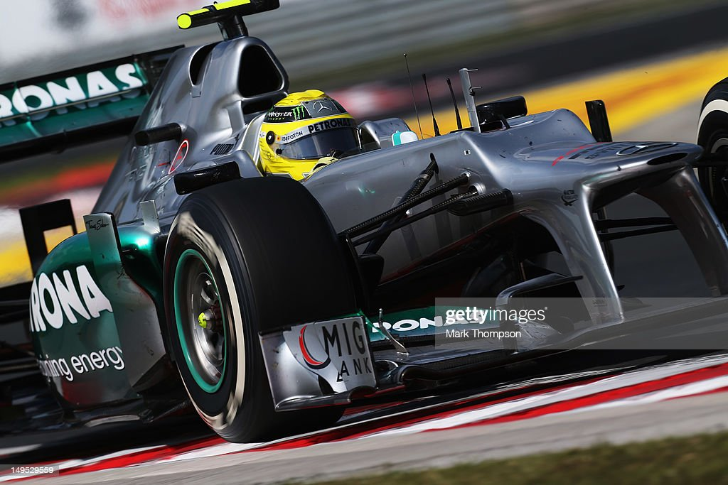 Nico Rosberg of Germany and Mercedes GP drives during the Hungarian Formula One Grand Prix at the Hungaroring on July 29, 2012 in Budapest, Hungary.