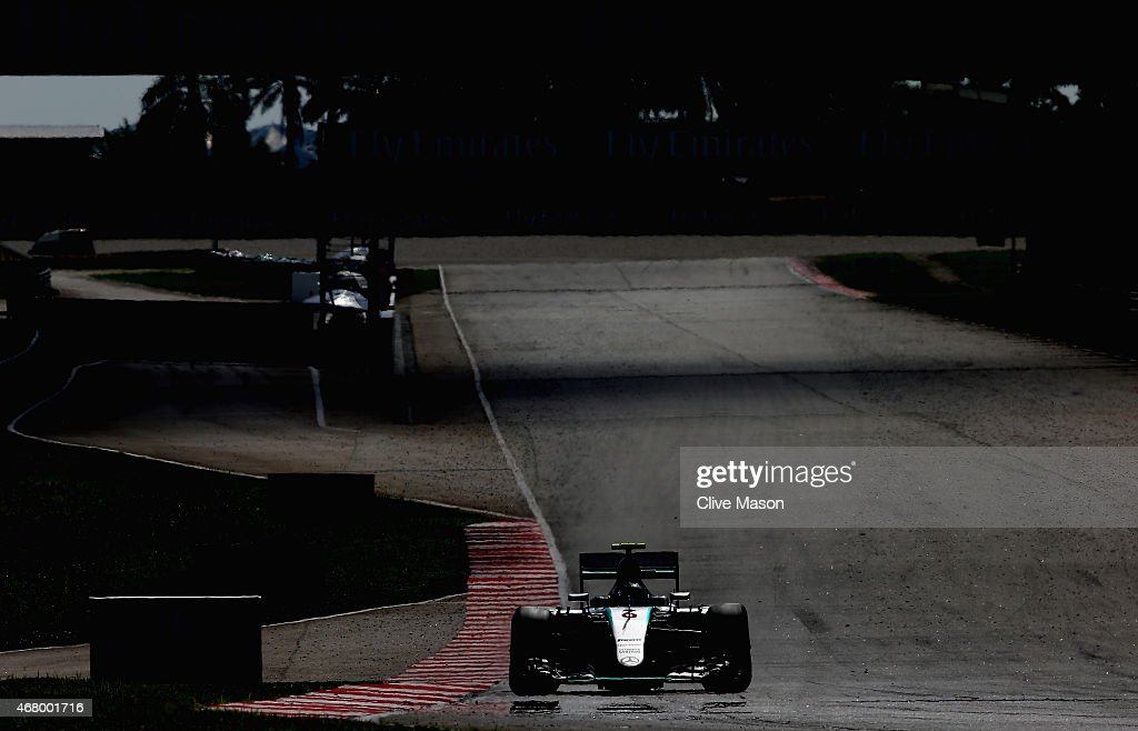 Nico Rosberg of Germany and Mercedes GP drives during the Malaysia Formula One Grand Prix at Sepang Circuit on March 29 2015 in Kuala Lumpur Malaysia