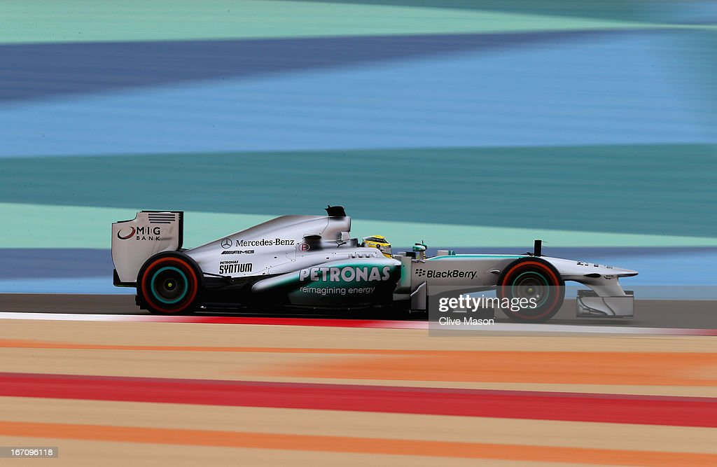 Nico Rosberg of Germany and Mercedes GP drives on his way to finishing first during qualifying for the Bahrain Formula One Grand Prix at the Bahrain International Circuit on April 20, 2013 in Sakhir, Bahrain.
