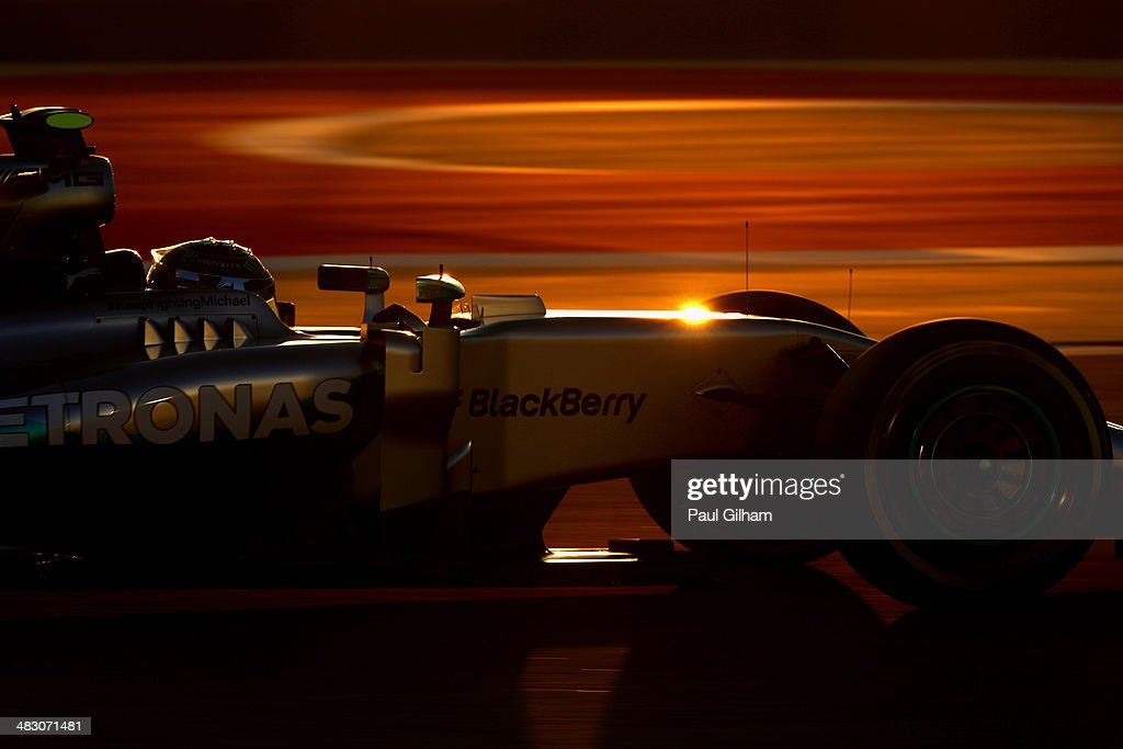 Nico Rosberg of Germany and Mercedes GP drives on his way to finishing second during the Bahrain Formula One Grand Prix at the Bahrain International Circuit on April 6, 2014 in Sakhir, Bahrain.