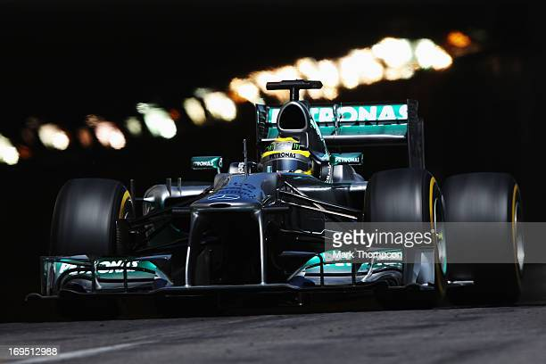 Nico Rosberg of Germany and Mercedes GP drives on his way to winning the Monaco Formula One Grand Prix at the Circuit de Monaco on May 26 2013 in...