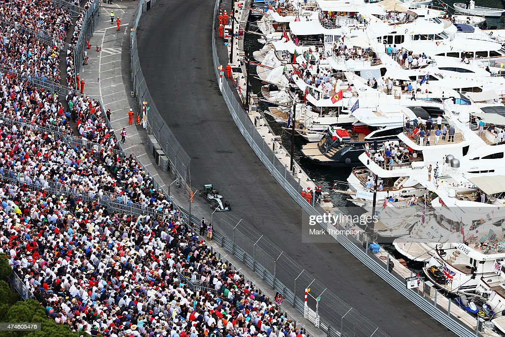 Nico Rosberg of Germany and Mercedes GP drives on his way to winning the Monaco Formula One Grand Prix at Circuit de Monaco on May 24 2015 in...