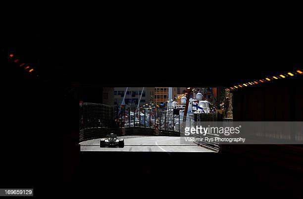 Nico Rosberg of Germany and Mercedes GP exits the tunnel during the Monaco Formula One Grand Prix at the Circuit de Monaco on May 26 2013 in...