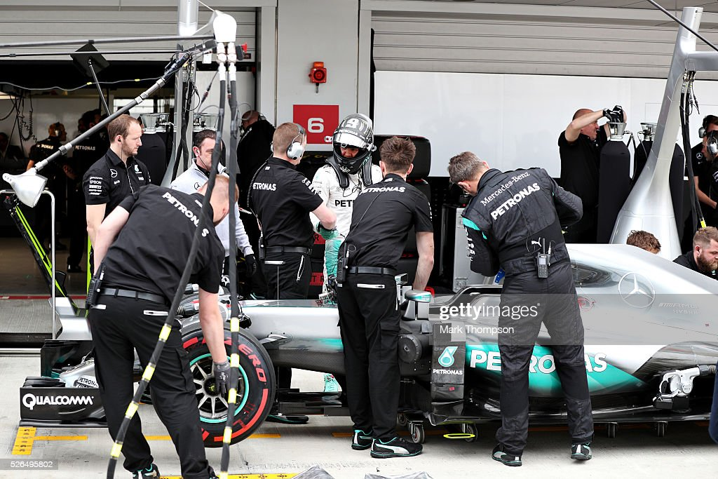 Nico Rosberg of Germany and Mercedes GP gets out of his car in the Pitlane during qualifying for the Formula One Grand Prix of Russia at Sochi Autodrom on April 30, 2016 in Sochi, Russia.
