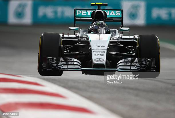 Nico Rosberg of Germany and Mercedes GP in action on his way to pole position during qualifying for the Formula One Grand Prix of Mexico at Autodromo...