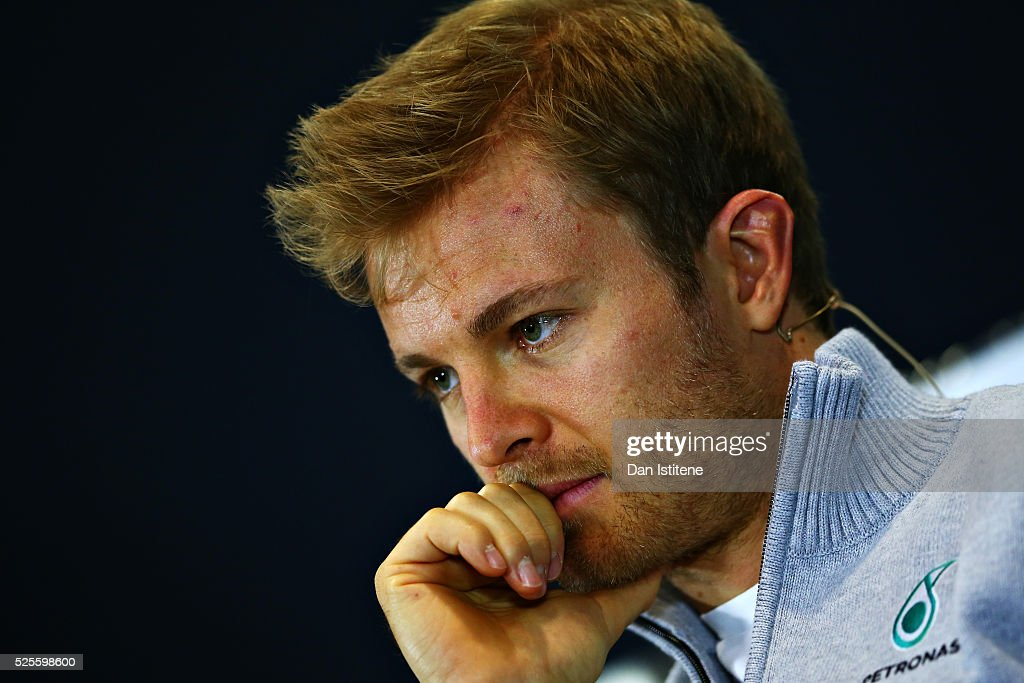 <a gi-track='captionPersonalityLinkClicked' href=/galleries/search?phrase=Nico+Rosberg&family=editorial&specificpeople=800808 ng-click='$event.stopPropagation()'>Nico Rosberg</a> of Germany and Mercedes GP in the Drivers Press Conference during previews ahead of the Formula One Grand Prix of Russia at Sochi Autodrom on April 28, 2016 in Sochi, Russia.